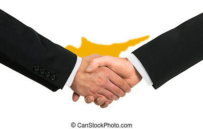 The Cypriot flag and business handshake