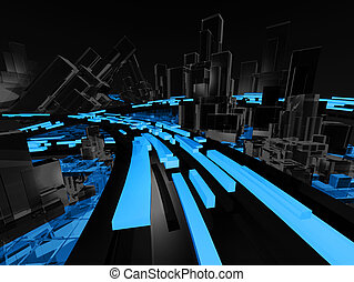 Future Technology City Abstract with Wireframe