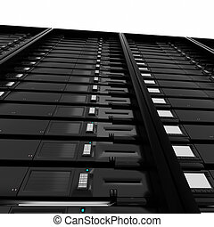 3d illustration of a row of servers