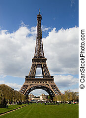 Eiffel Tower in Paris - View at Eiffel Tower from the Champ...