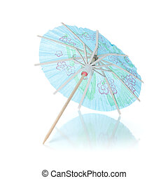 Blue cocktail umbrella. Isolated on white background