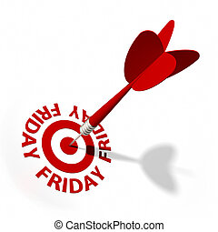 Friday Target - Target and dart with circular text. Part of...