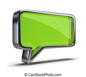 chat icon - polished glass icon chat. 3d image. Isolated...