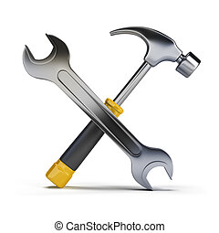 hammer and wrench - 3d image Hammer and wrench Isolated...
