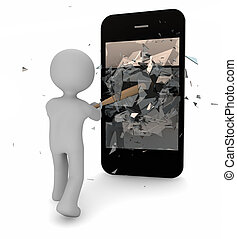 technofobia - 3d render of a man with technofobia breaking...