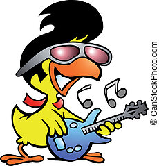 smart chicken playing on guitar - Hand-drawn Vector...