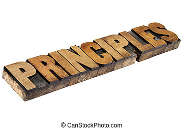 principles word in wood type - principles - isolated word in...