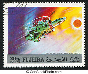 spacecraft - FUJEIRA - CIRCA 1991: stamp printed by Fujeira,...