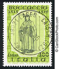 Boccaccio by Andrea del Castagno - ITALY - CIRCA 1975: stamp...