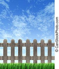 Picket Fence And Blue Sky - Picket wood fence on a blue sky...