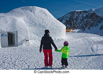 Igloo in the mountains, Ski resort of Kaprun, Kitzsteinhorn...