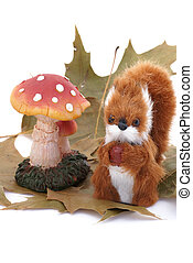 Squirrel in fake wood - Isolated squirrel and toadstool with...