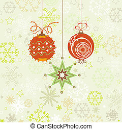 Christmas ornaments in red and green, snowflakes background