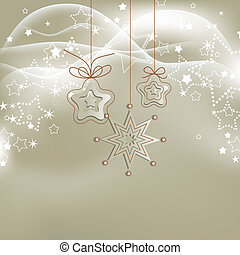 Silver lights Christmas background with stars