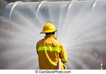 Firefighter Working