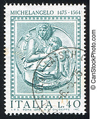 Pitti Madonna by Michelangelo - ITALY - CIRCA 1975: stamp...