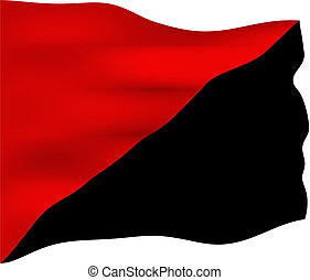 Anarchist Communism Flag - Red and black flag, symbol of the...