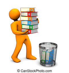 Documents Destruction - Orange cartoon character throws...