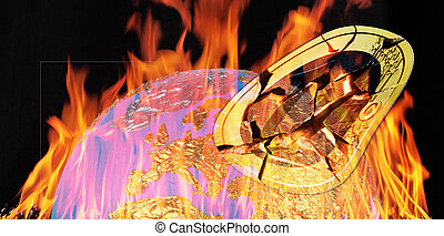 europe - A Europe globe with a broken 2 euro coin in flames