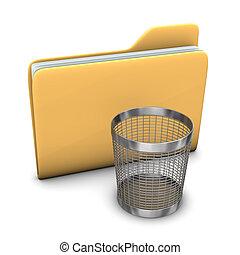 Folder Wastebasket - A big folder with a steel wastebasket...
