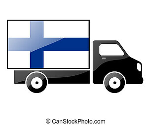 The Finnish flag painted on the silhouette of a truck glossy...