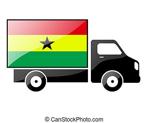 The Ghana flag painted on the silhouette of a truck glossy...