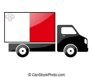 The Maltese flag painted on the silhouette of a truck....