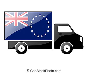 The Cook Islands flag painted on the silhouette of a truck....