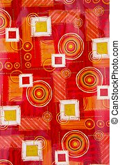 Table cloth background with circles and squares. -...
