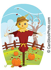 Scarecrow for Fall harvest - A vector illustration of a...