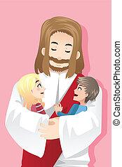 Jesus loves kids - A vector illustration of Jesus holding...