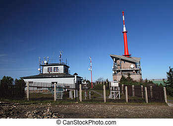 Meteorological station and transmitter in autumn - sunny day...