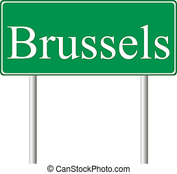 Brussels green road sign isolated on white background