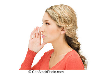 woman whispering gossip - bright picture of woman whispering...