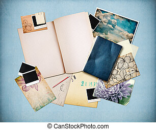 Vintage background with old paper, cards and instant photos,...