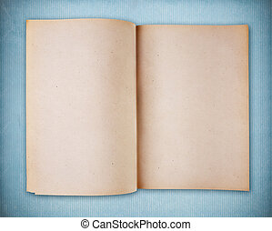 Blank vintage notebook on blue vintage paper
