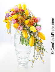 Colorful flowers bouquet arrangement centerpiece in vase -...