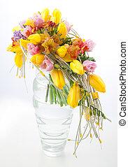 colorido, flores, ramo, arreglo, centro de mesa, florero