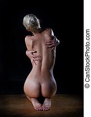 bonito, mulher, pelado, costas, femininas, excitado
