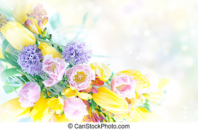 Beautiful spring flowers nature frame