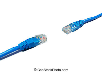 LAN Cables - Isolated blue LAN cables
