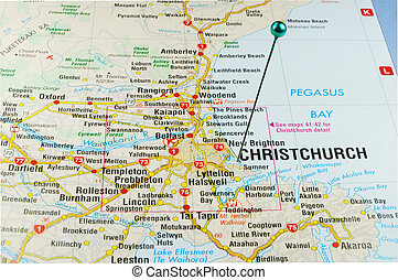 Christchurch pin point - Christchurch marking point on the...
