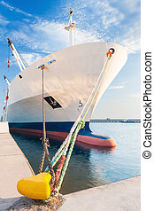 Docked dry cargo ship with bulbous bow - Dry cargo ship with...