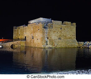 Paphos Castle at night, Cyprus - Paphos venetians Castle at...