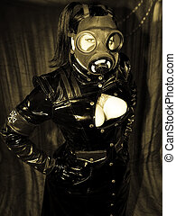 gas mask - girl in a gas mask in vintage sepia tone