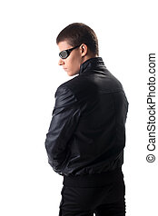 Security in black leather jacket and glasses - Security...