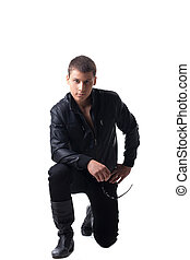 Security officer in black leather jacket isolated