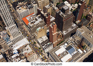 Downtown City Street Birds Eye View New York - New York City...