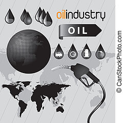 Oil industry - oil icon in the world ove gray background...