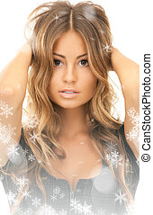 lovely woman - bright picture of lovely woman over white